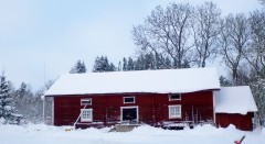 Snowy Farm Building