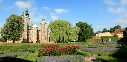 View of Rosenborg Slot (castle) across a formal flower garden