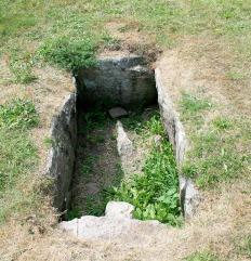 Stone 'coffin' burial pit set into Grønsalen