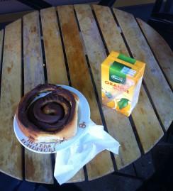 A Chocolate Snail & OJ. Mmmmmm