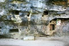 Carved shelves, a medieval safe & holes for fittings