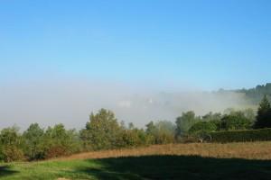 Climbing above the mist