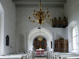 Inside St. Knud's. Fanciest pulpit on the island so far.