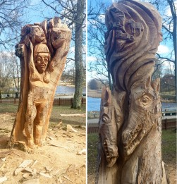 Tree trunk carvings