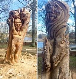 Tree trunk carvings
