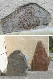 Uppland Runestones #252 (in wall), 259 & 260 (red granite)