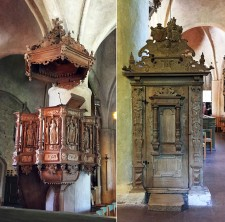 The pulpit and it's carved entrance
