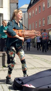 Street performer. She was playing something celtic sounding.