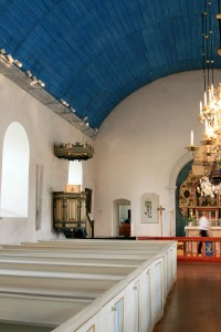 Pews, pulpit and portion of the gorgeous barrel vaulted ceiling