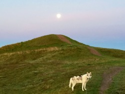 Super moon over smaller mound as we climbed