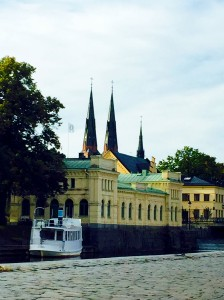 The old pump house and spires of Uppsala Cathedral
