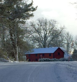 Barn, snow, and trees. How post-card!