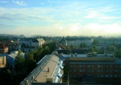 Morning view across Umeå from hotel room