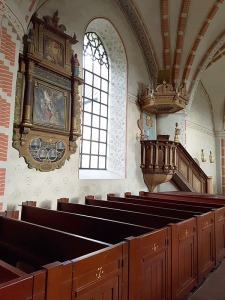 The pulpit and pews.