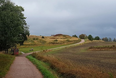 View back up the hill below the mounds