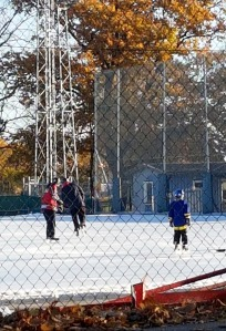 The rinks have been open for weeks now! Never mind above freezing temps and rain.