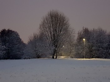 The opalescent glow of a snowy pre-dawn.