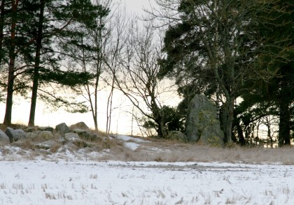 Bad lighting, but a standing  stone to the right.